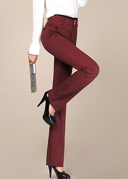 女士修身品红色西裤